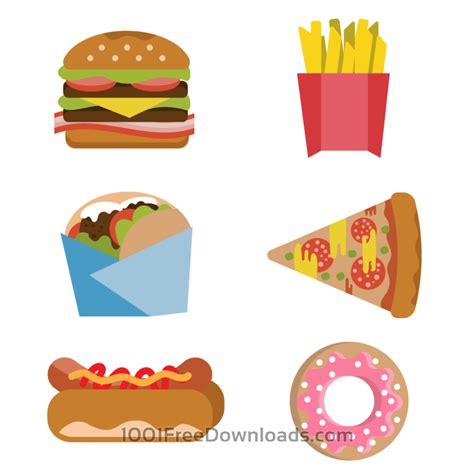 fast food dogs free vectors fast food burger fries donut flat vector set abstract