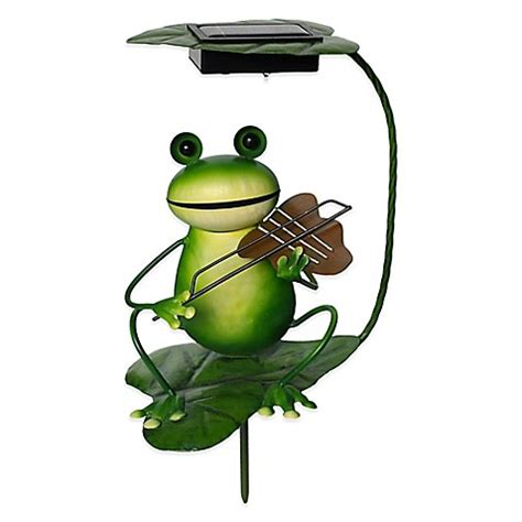 Frog Solar Lights Solar Powered Frog With Violin Lighted Garden Stake Bed