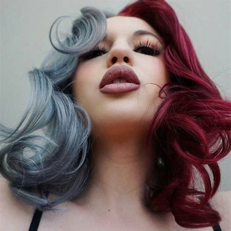 dyed grey hairstyles half trendy gray half burgundy dyed hair color dyed hair