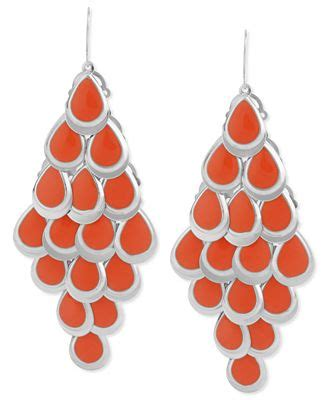 coral colored jewelry haskell earrings silver tone coral colored teardrop