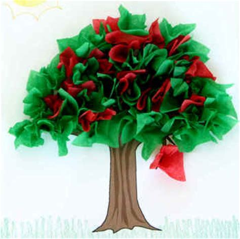 Tissue Paper Tree Craft - summer tree paper craft