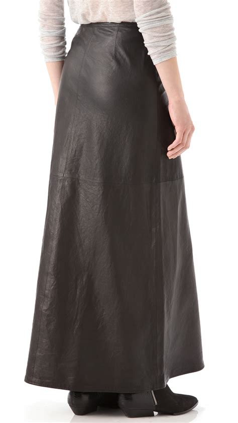 j brand cameo leather maxi skirt in black lyst