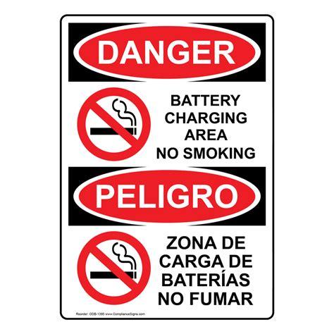 letter of explanation osha danger battery charging area no bilingual 1395