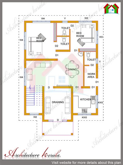 1 Story Open Floor House Plans by 4 Bhk Kerala House In 1700 Square Feet Architecture Kerala