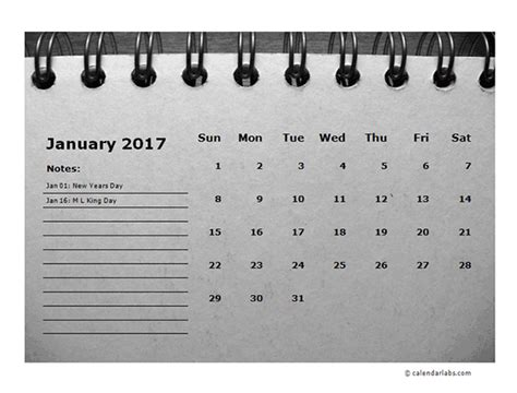 printable calendar room for notes 2017 monthly calendar template room for notes free