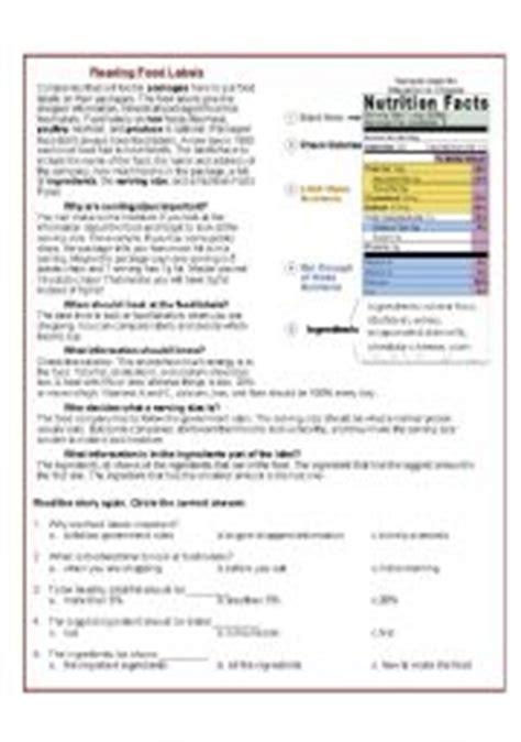 Reading Nutrition Labels Worksheet by Worksheet Reading Food Labels