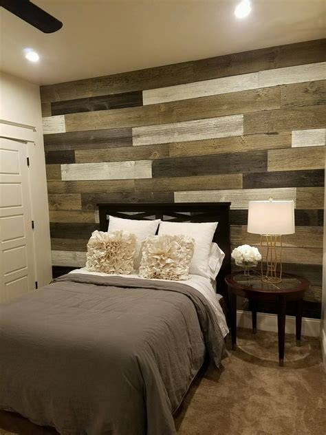 bedroom wood accent wall    faux logic