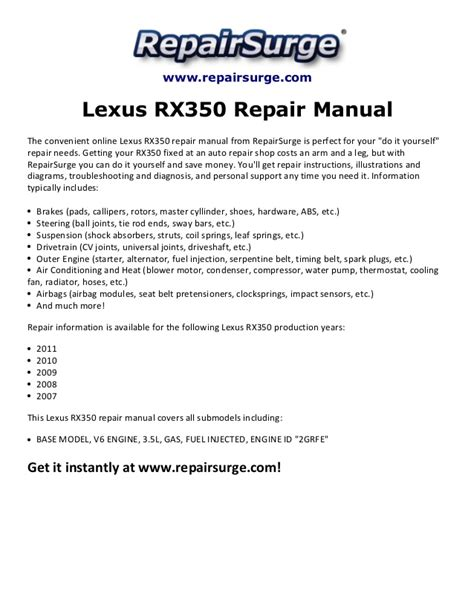 online auto repair manual 2007 lexus rx hybrid instrument cluster lexus rx350 repair manual 2007 2011