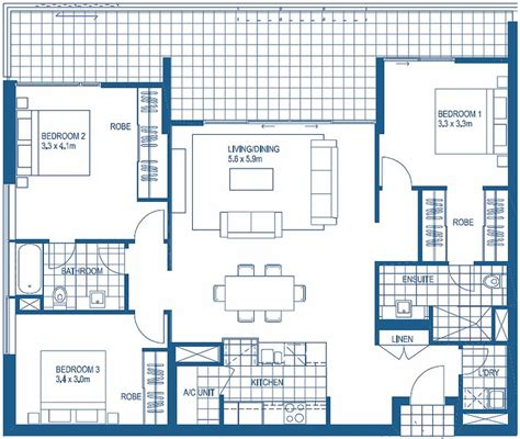 Floor Plans For 3 Bedroom Apartments | 3 bedroom floorplans harbour lights cairns apartment