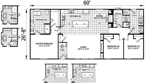 30x60 house floor plans 20 x 60 mobile home floor plans