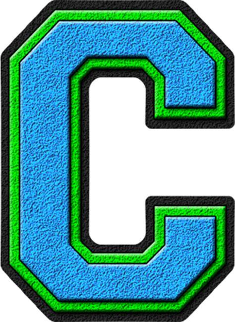 Green C presentation alphabets light blue green varsity