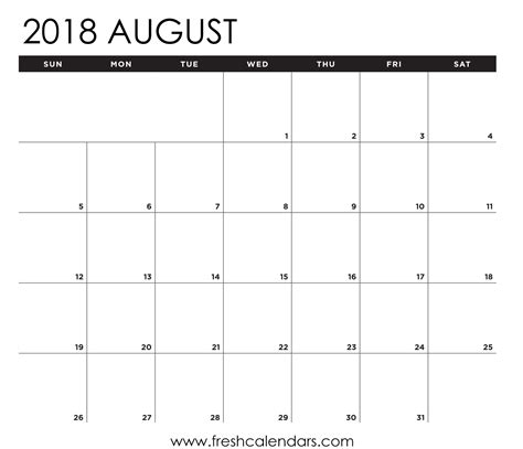 15 Best August 2018 Calendar Printable Templates Calendar Planner Template 2018