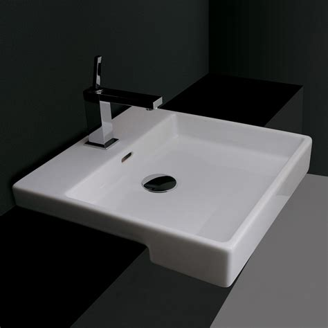 semi recessed bathroom sinks ws bath collections plain 45s 0 ceramica valdama semi recessed bathroom sink atg stores