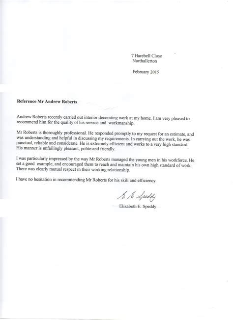 Reference Letter Comments testimonials andrew
