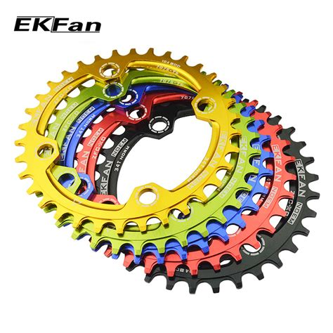 Chainwheel Sepeda 104bcd 34t ekfan narrow wide 32t 34t 36t 104bcd mtb chainring shape 7075 t6 bicycle chainwheel bike