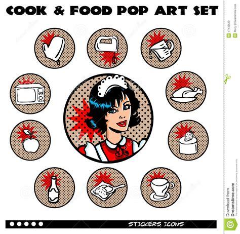 Eat In Kitchen Design Cook And Food Pop Art Icons Set Stock Illustration Image