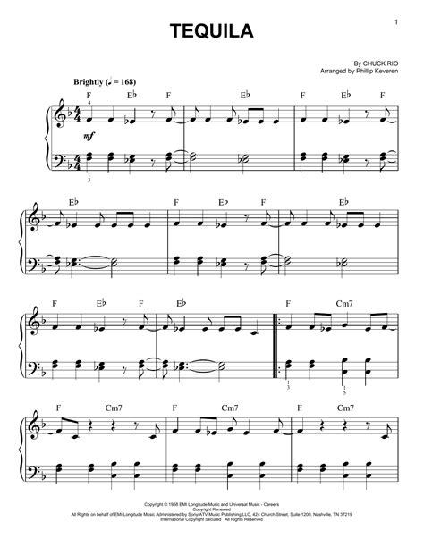 Tequila (Easy Piano) - Print Sheet Music Now