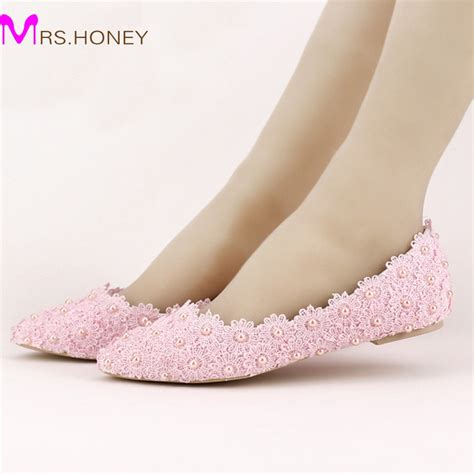 beautiful flat wedding shoes flat heels pearl and lace flower bridal shoes pointed toe