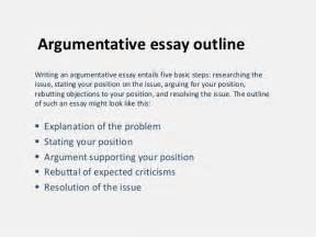 Exle Of Argumentative Essay Outline by Argumentative Essay Outline
