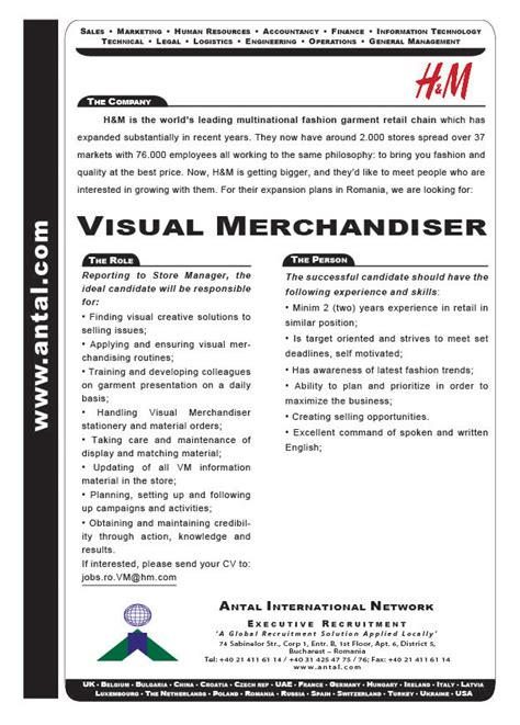 h m recruitment caign visual merchandiser h m job