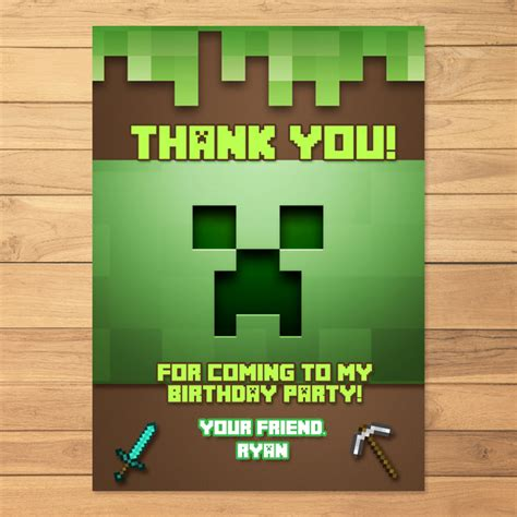 minecraft printable thank you cards minecraft thank you card creeper minecraft by