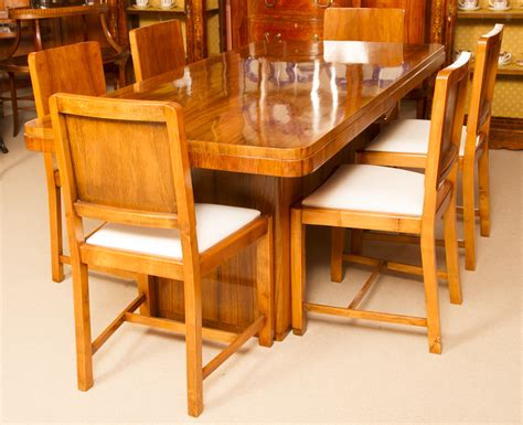 Antique Art Deco Walnut Dining Table 6 Chairs C 1920 Walnut Dining Table And 6 Chairs