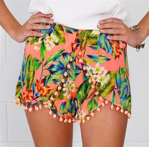 colorful shorts shorts floral tropical neon summer skirt