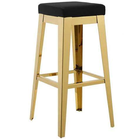 Stainless Steel Backless Bar Stools by Black Velvet Gold Stainless Steel Backless Bar Stool