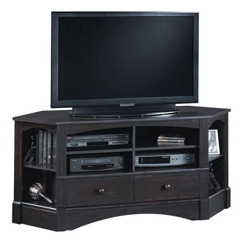 black corner tv stand corner tv stand in antiqued black 402902