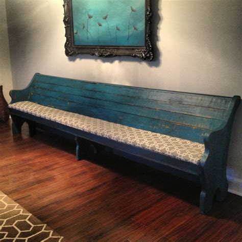 pew benches turquoise church pew repurposed furniture