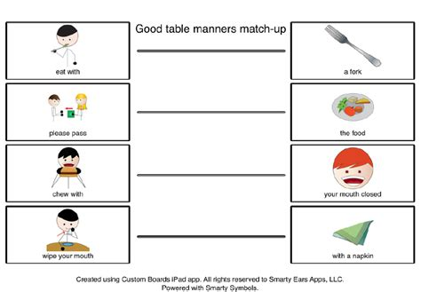 worksheets for preschoolers on manners good table manners during the holidays freebie a social