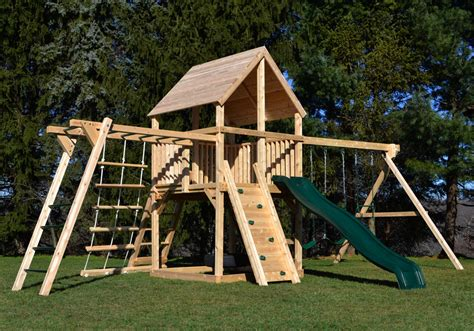 wooden swing sets with monkey bars cedar swing sets the bailey climber with options