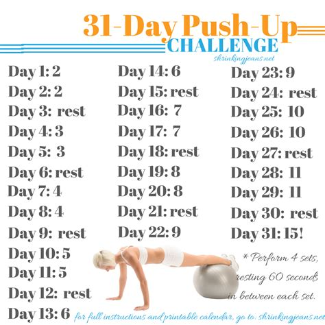 31 day push up challenge monthly workout calendar
