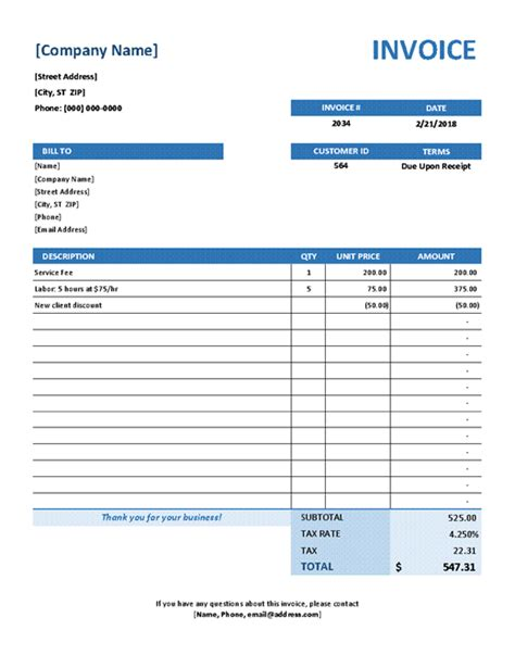 Invoices Office Com Free Service Invoice Template Excel