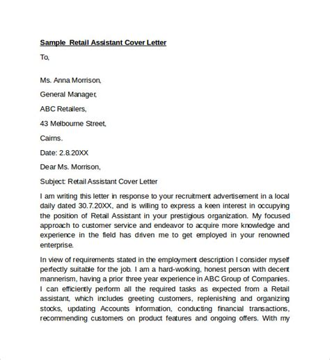 cover letter exles in retail assistant sle retail cover letter template 9 free