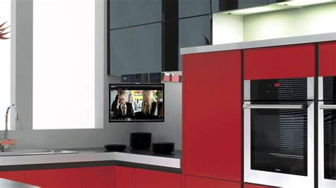kitchen tv cabinet eidola under cabinet flip down smart kitchen tv youtube