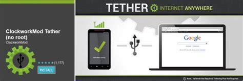 clockworkmod tether apk use android phone as modem for pc laptop