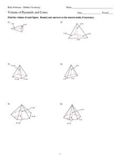 Volume Of Pyramid Worksheet by Volume Of Pyramids And Cones 6th 9th Grade Worksheet