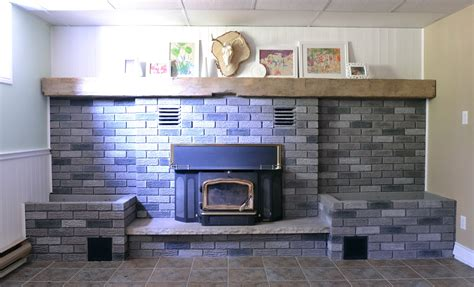 painted brick fireplace makeover how the crux grey paint wash on a brick fireplace before