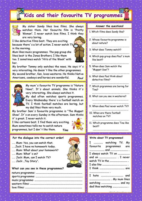 exercises with keys free english materials for you kids and their favourite tv programmes key worksheet
