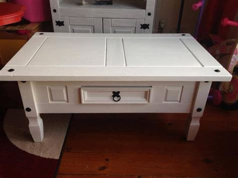 Corona Mexican Pine Coffee Table Painted White And Corona Mexican Pine Coffee Table
