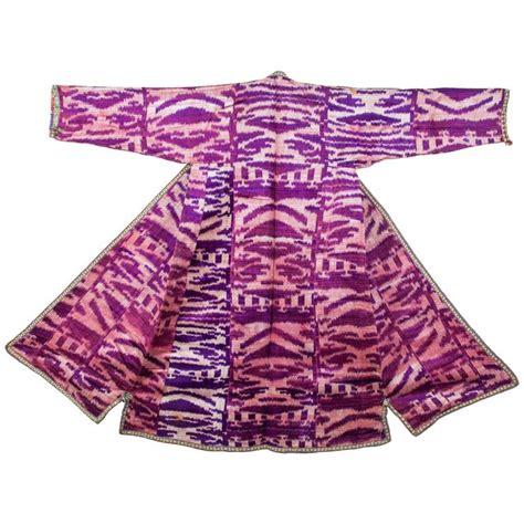uzbek ikat childs coat central asia late 19th century great colors late 19th century uzbek silk velvet ikat chapan coat for