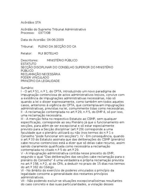 Acórdãos STA | Lei Estatutária | Julgamentos