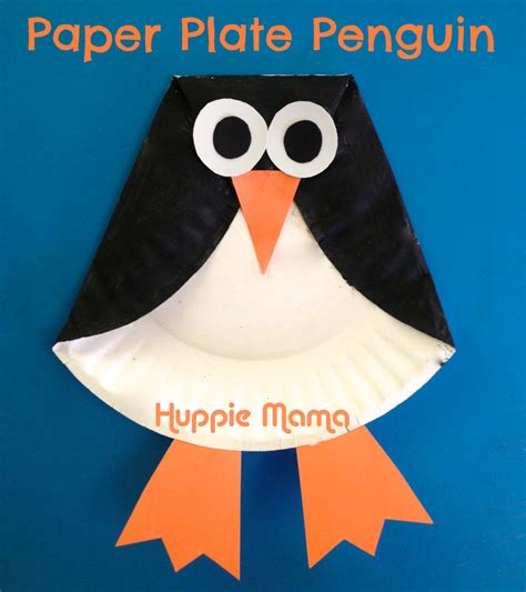 Paper Penguin Craft - craft paper plate penguin animal learning