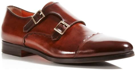 light brown monk shoes santoni wilson monk shoes in brown for lyst