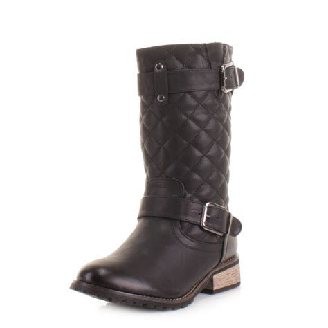 Quilt Boots by Womens Leather Style Quilted Warm Biker Ankle Boots