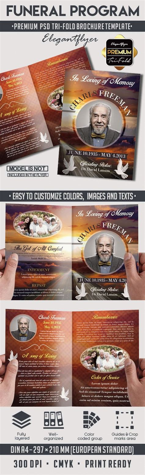 Bi Fold Brochure For Funeral Program By Elegantflyer Free Funeral Flyer Template Psd