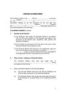 working contract template free printable employment contract sle form generic