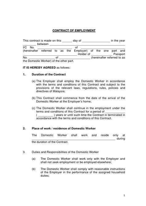 Generic Employment Contract Template Free Printable Employment Contract Sle Form Generic