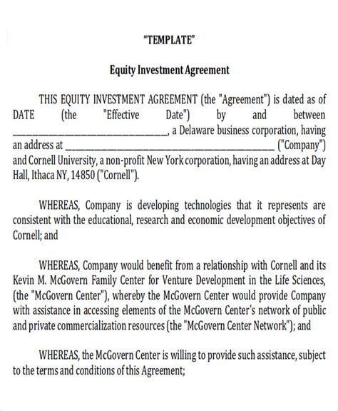 equity agreement template sle investment contract agreements 7 exles in